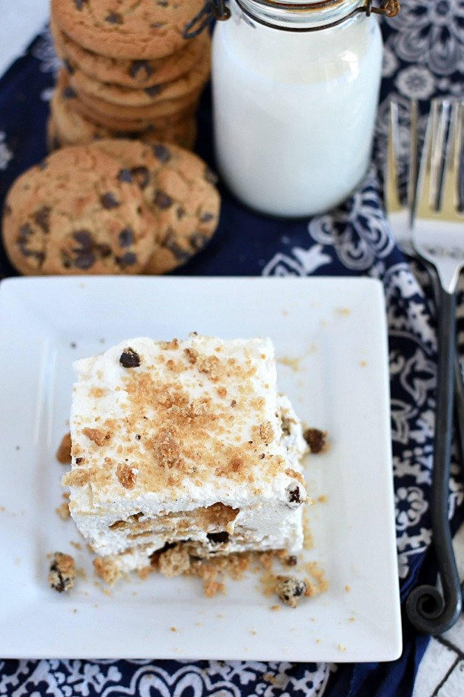 An eagle eye view of no bake chocolate chip cookie icebox cake