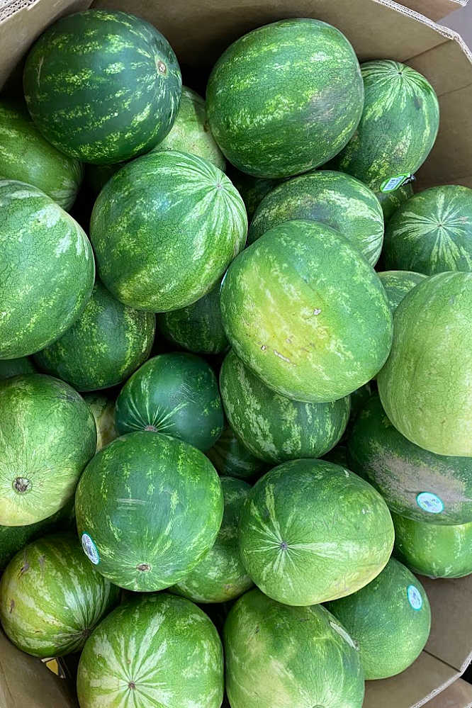 a cardboard box with lots of whole seedless watermelons