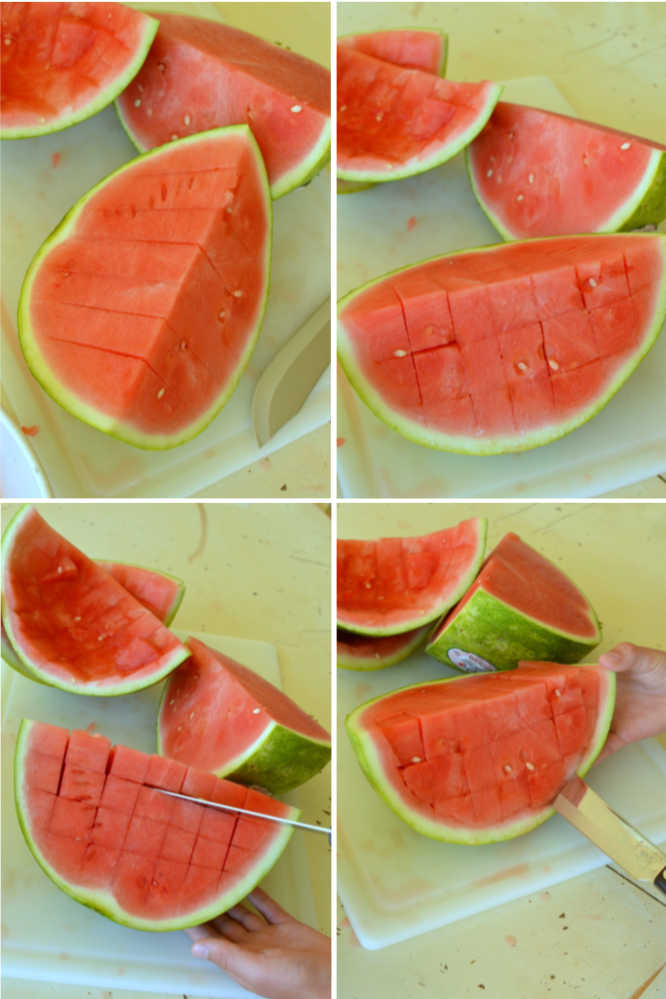 step by step images showing how to cut a watermelon into cubes