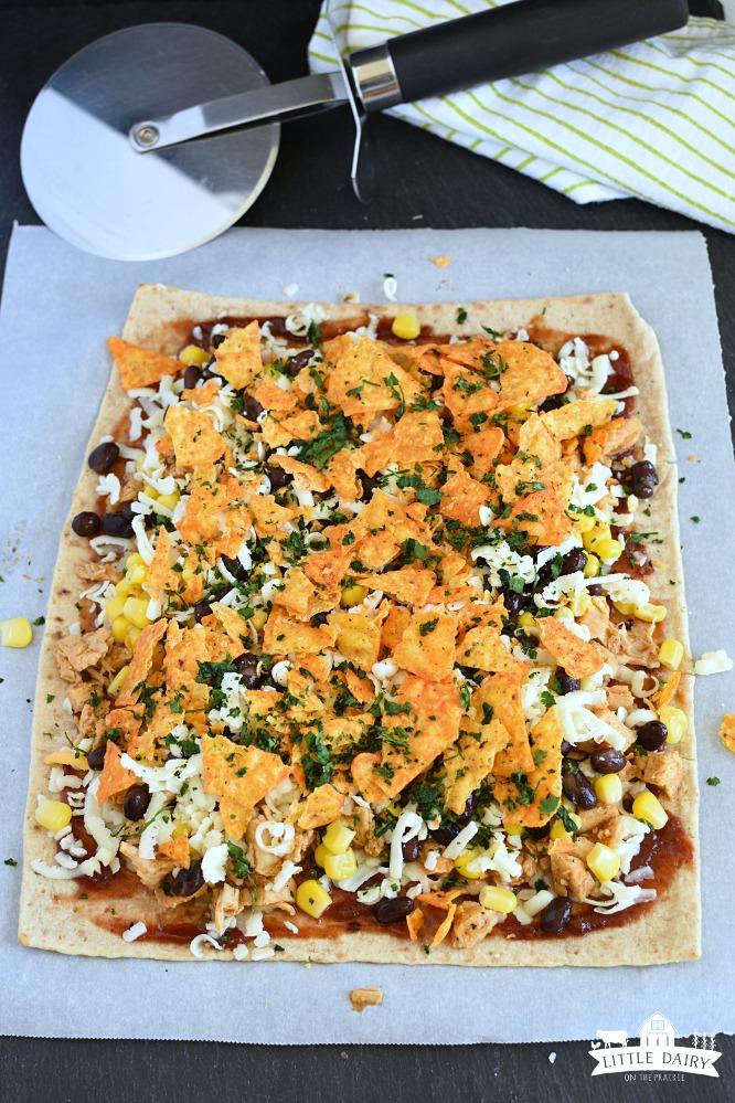 Chicken Taco Pizza - cheesy tortilla chips
