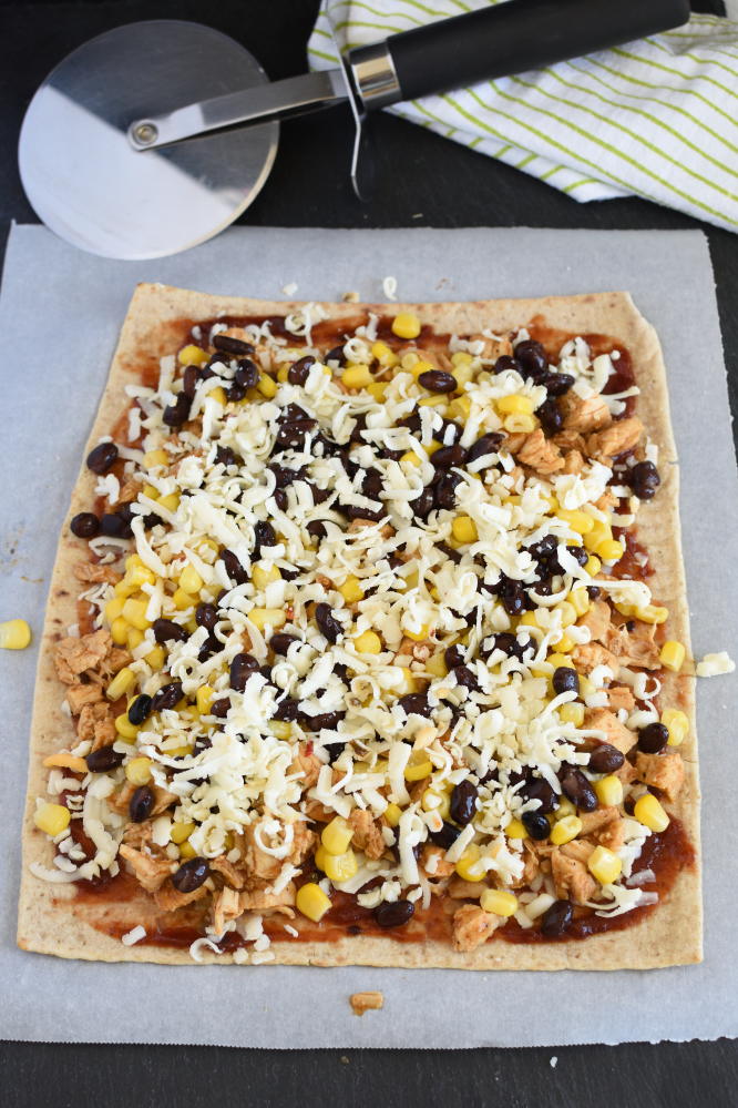 Chicken Taco Pizza - more cheese is always good!