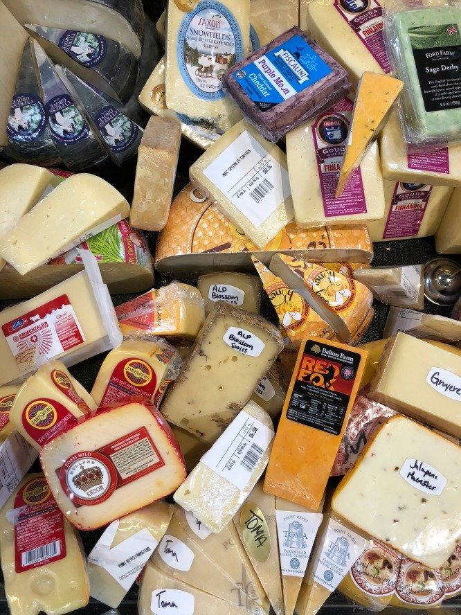 A case of assorments of cheese