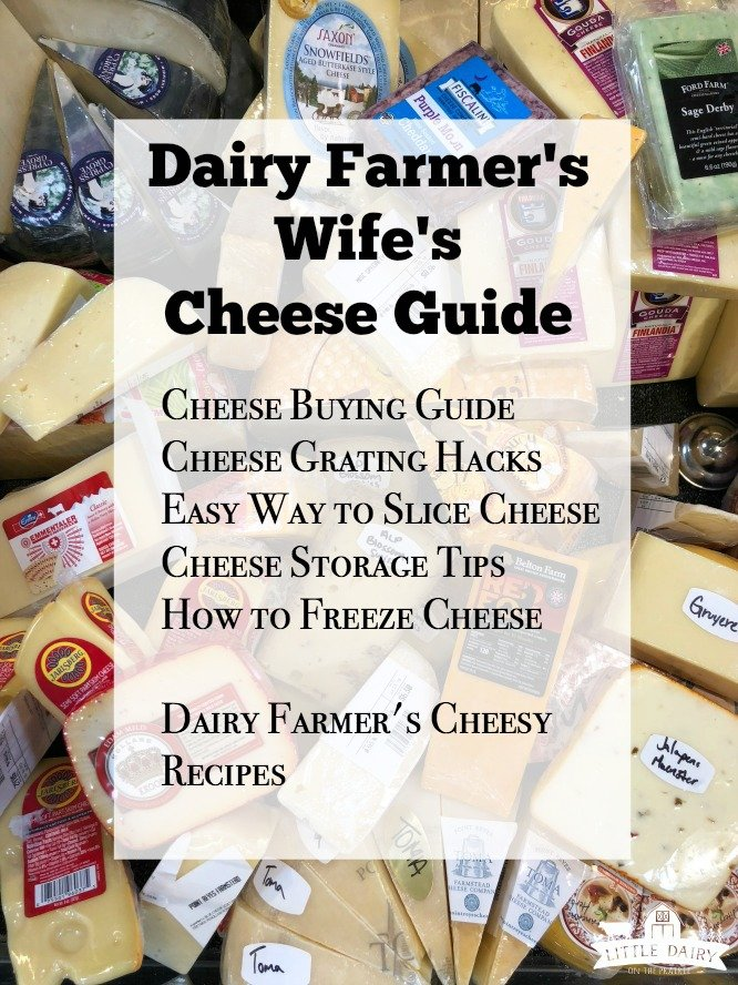Dairy Farmer's Wife's Cheese Guide - learn insider tips and tricks on how to buy, use, store, grate, slice, and freeze cheese. Plus the cheesiest recipes! www.littledairyontheprairie.com #ad #undeniablydairy #cheese #guide #tipsandtricks #hacks #kitchenhacks #freezingcheese #storingcheese #deli #cheeserecipes