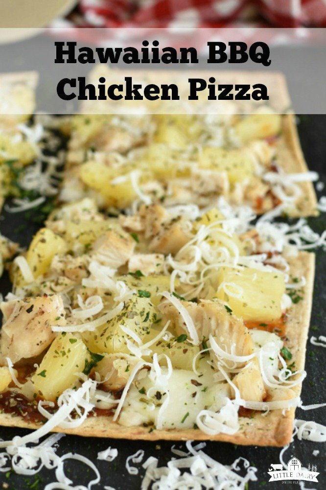 Hawaiian BBQ Chicken Pizza takes about 5 minutes to make and 12 minutes to bake. Use leftover grilled chicken to make it even easier! www.littledairyontheprairei.com #flatbreadpizza #grilledchicken #leftover #makeadhead #easymeal #quicklunch #semihomemade
