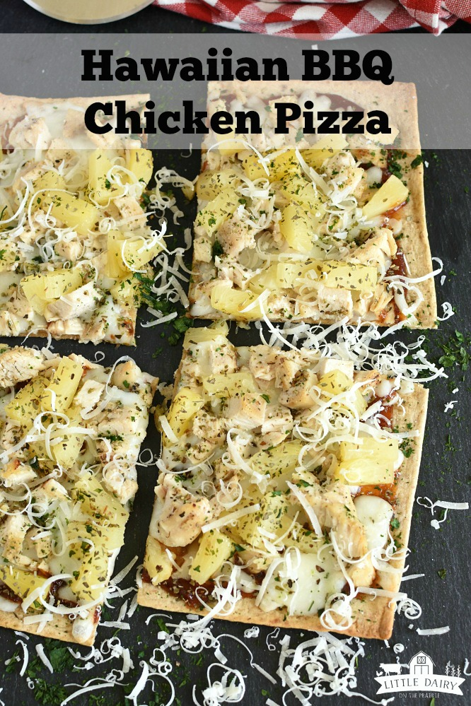 Hawaiian BBQ Chicken Pizza is a quick and easy meal idea. Use leftover chicken and learn about how to customize it. www.littledairyontheprairie.com #chickenpizza #flatbreadpizza #leftoverchicken #grilledchicken #leftovers #bake #grill