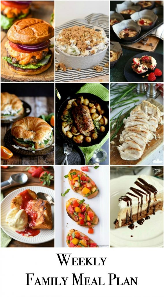 Weekly Family Meal Plan includes breakfast, dinner, side dish, appetizer, and dessert! #menu #mealplanning #mealprep #menu #dinner #breakfast #dessert #appetizer #sidedish