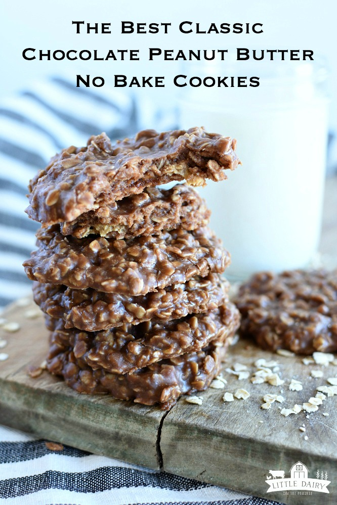 Classic No Bake Cookies- not too thick, not too thin, not dry, just right! Check out my little tip! www.littledairyontheprairie.com #cookies #nobake #chocolate #peanutbutter #nobakecookies #dessert #easyrecipe #classiccookies #oats #kidsrecipe #yummy