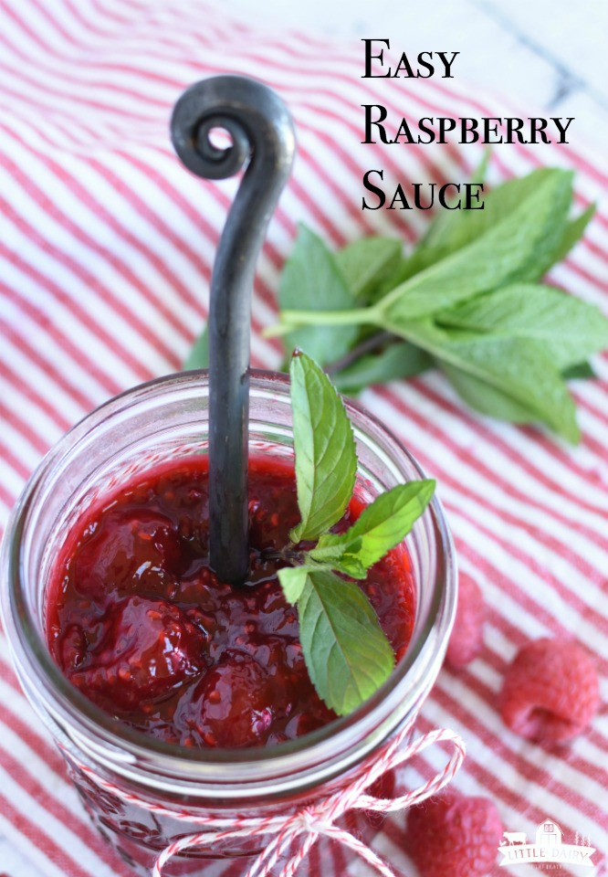 Easy Raspberry Sauce is a make ahead sauce using fresh or frozen raspberries. Serve it on desserts, pancakes, yogurt parfaits, etc. www.littledairyontheprairie.com #dessert #recipe #makeahead #raspberries #frozenberries #frozenraspberries #freshraspberries #dessertsauce #breakfastsauce #pancakes #cheesecake #raspberrylemonade #basicraspberrysauce