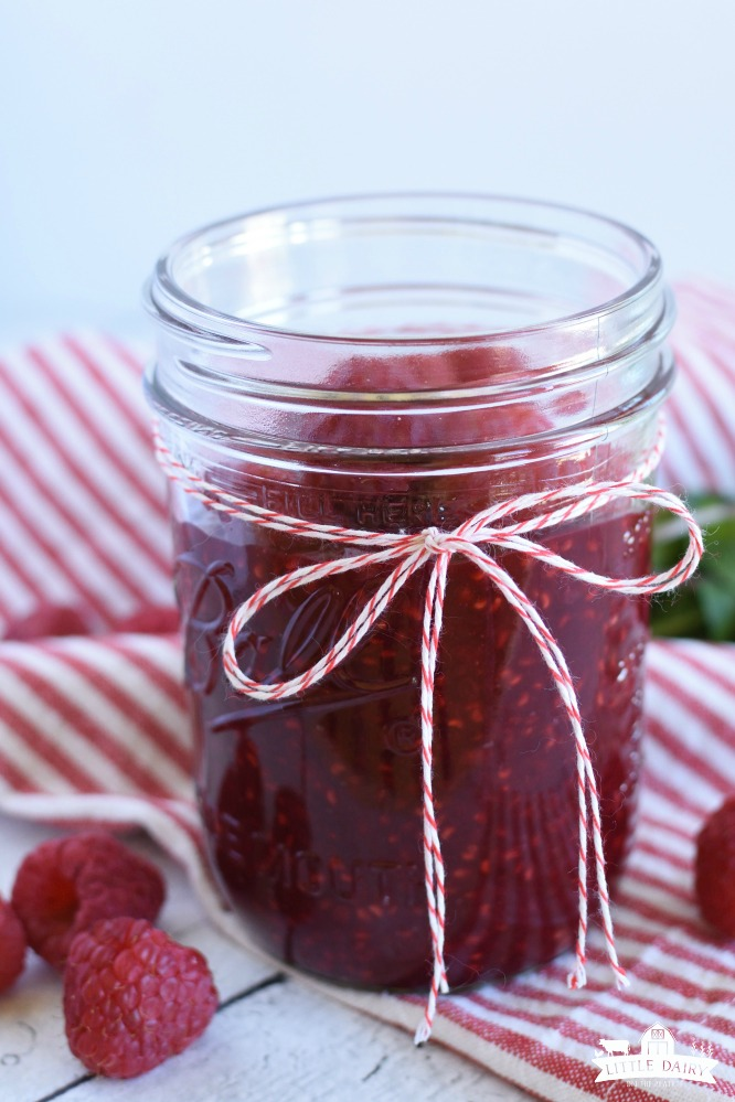front view of a canning jar of raspberry sauce with a red and white twine bow