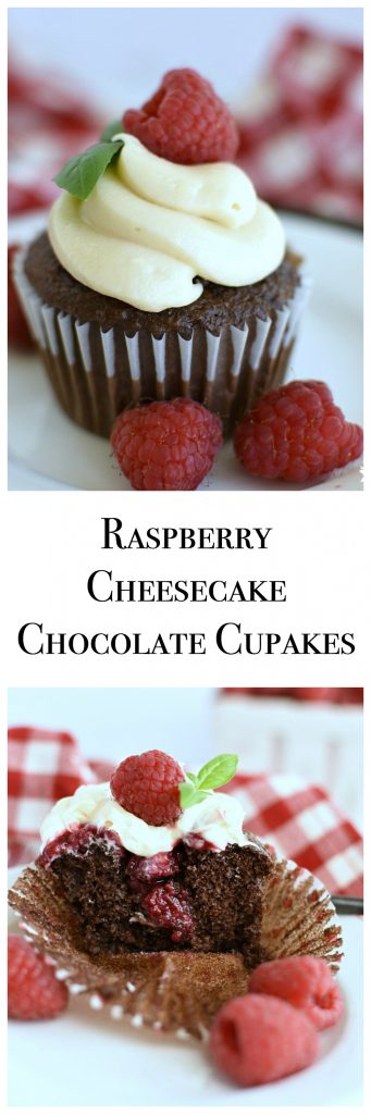 Raspberry Filled Cheesecake Chocolate Cupcakes are out of this world and so much easier to make than they look! They're the perfect combination of desserts! www.littledairyonthepairie.com #dessert #cupcakes #chocolatecupcakes #raspberries #cheesecake #creamcheeseicing #semihomemade #easyrecipe #fancycupcakes #gourmetcupcakes