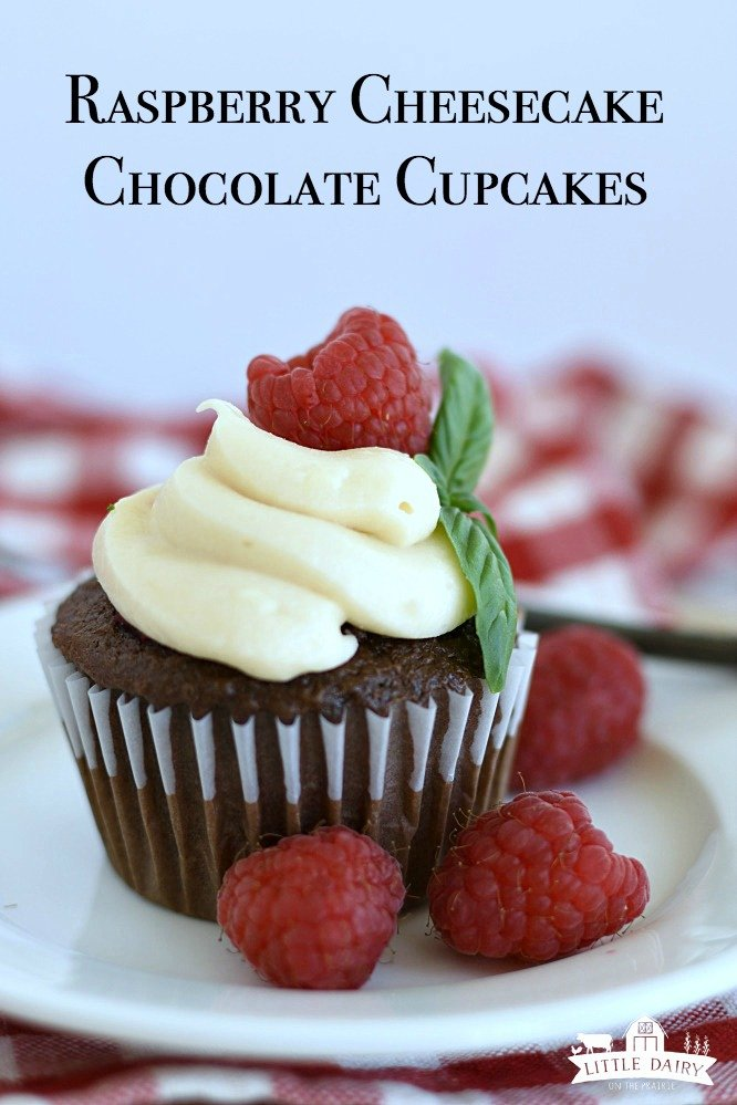 Raspberry Filled Cupcake with Cream Cheese Icing are easier to make than you think! It's starts with a cake mix but tastes gourmet! www.littledairyontheprairie.com #cupcakes #chocolate #chocolatecupcakes #raspberryfilledcupcake #raspberries #creamcheeseicing #creamcheesefrosting #smeihomemade #dessert #recipe #dessertrecipe #cakemix