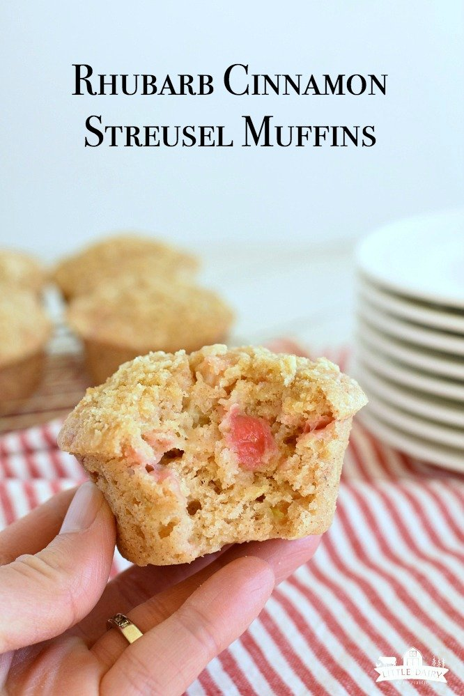 Rhubarb Cinnamon Streusel Muffins are incredibly moist, easy to make, and have the best streusel on top! www.littledairyontheprairie.com #rhubarb #bread #quickbread #muffins #cinnamon #sreusel #easyrecipe #baking #breakfast #brunch #yummy #food