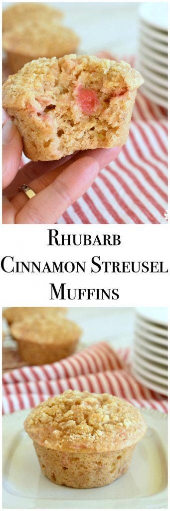 Rhubarb Cinnamon Streusel Muffins are moist, easy to make, and delicious! www.littledairyontheprairie.com #bread #rhubarb #muffins #quickbread #streusel #easyrecipe #howtomakemuffins #yummy #foodie #breakfast #brunch