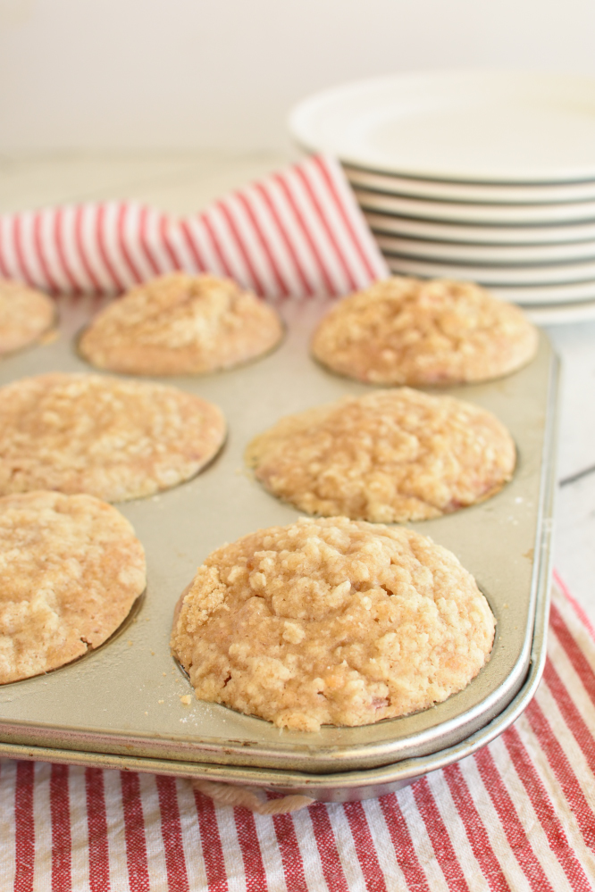 Rhubarb Cinnamon Streusel Muffins - baked muffins in a tin