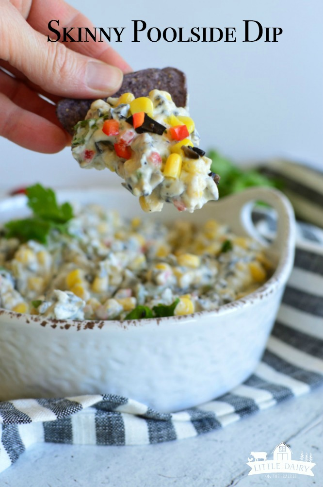 Skinny Poolside Dip one of those appetizers you aren't going to be able to stop eating! It's full of amazing flavors, can be made ahead of time, and is skinny! www.littledairyontheprairie.com #recipes #makeaheadrecipe #appetizer #fingerfood #dips #chipsanddip #easyrecipe #creamcheese #corn #food #chips #foodie #picnic #party #partyideas #tailgating