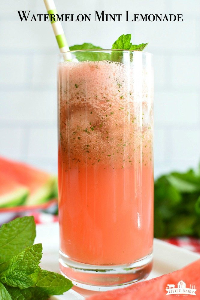 Watermelon Mint Lemonade is an easy, refreshing drink! Make it slushy! www.littledairyontheprairie.com #drinks #drink #beverage #lemonade #watermelon #mint #slushydrink #nonalchol #blender #vitamix #easyrecipe #summerdrink #familydrink #virgindrink #watermelondrink #leftoverwatermelon #tasty