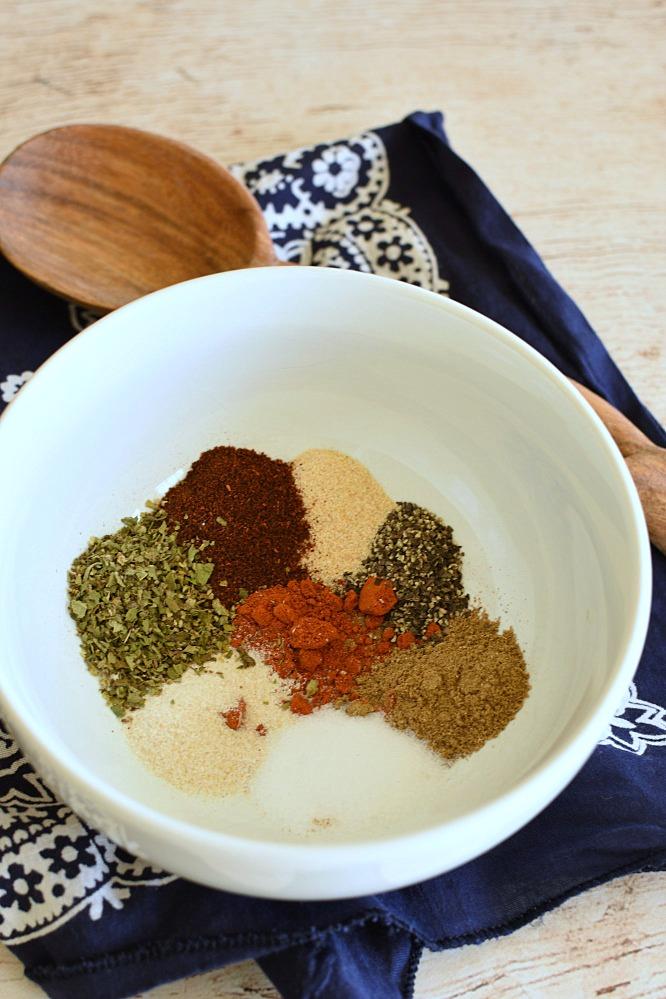 seasonings in a white bowl