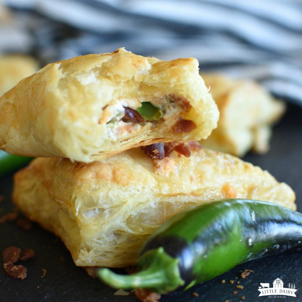 Jalapeno Popper Turnover with cream cheese, bacon, and shredded cheese in the middle