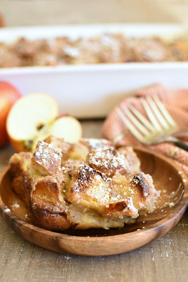 baked apple pie French toast in a wooden bowl
