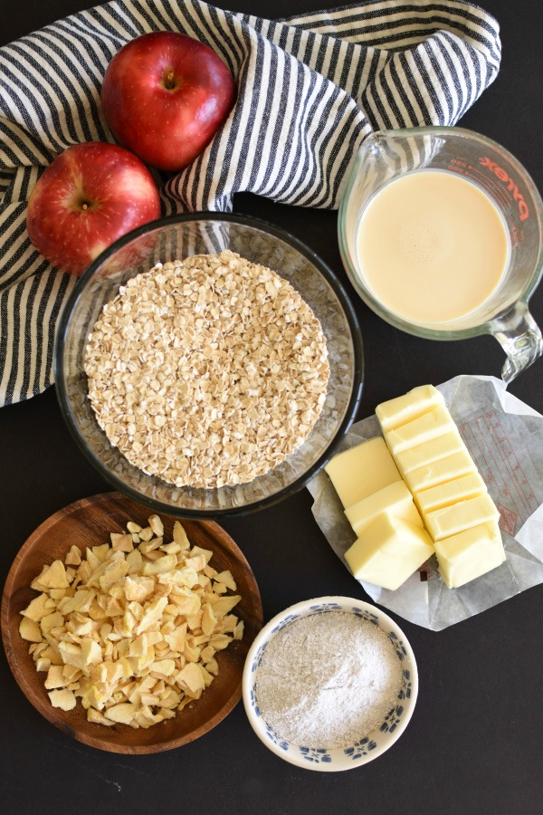 ingredients in no bake cookies; butter, oats, dried apples, milk, and pudding mix