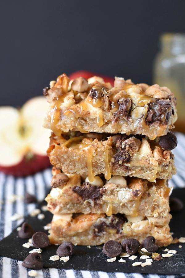 3 caramel apple magic bars with oats in a stack