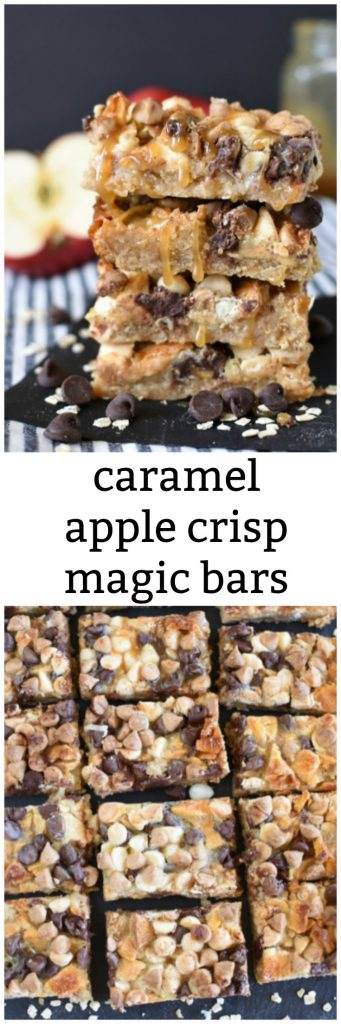 A collage of caramel apple crisp magic cookie bars