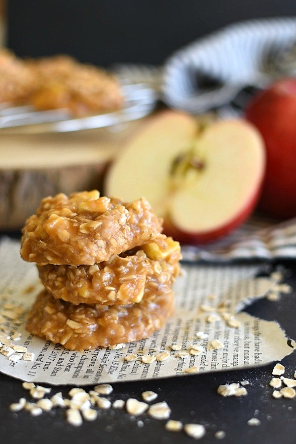 three no bake caramel apple no bake cookies stacked up
