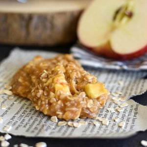 No bake caramel apple cookies on a piece of newspaper
