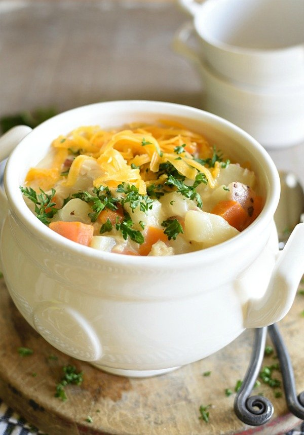 Cheesey Chicken Soup in a white bowl