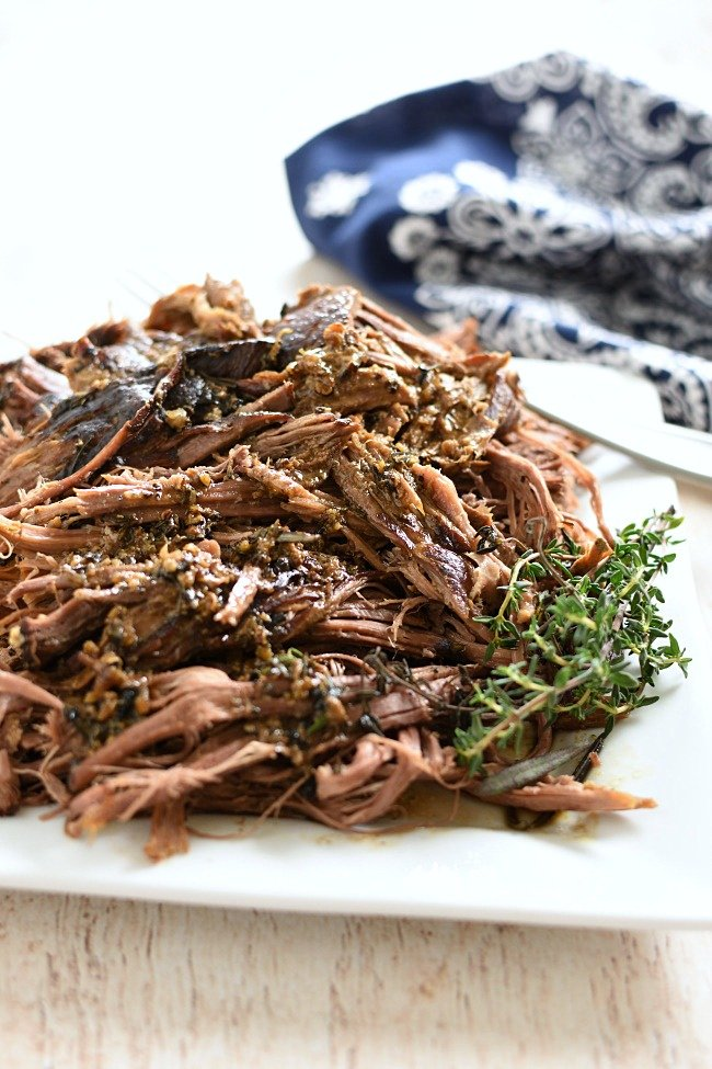 shredded roast beef with thyme