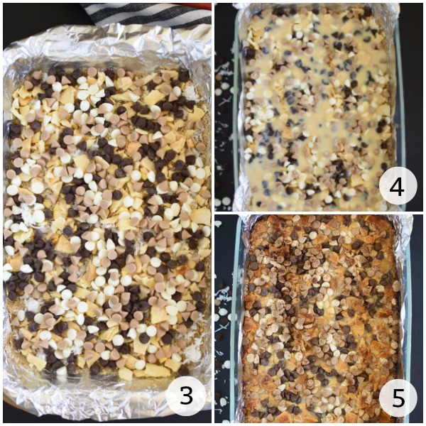 step by step images showing how to make magic bars