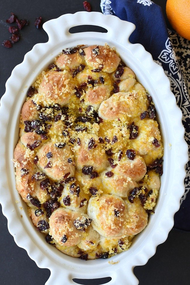 baked ornage monkey bread with dried cranberries