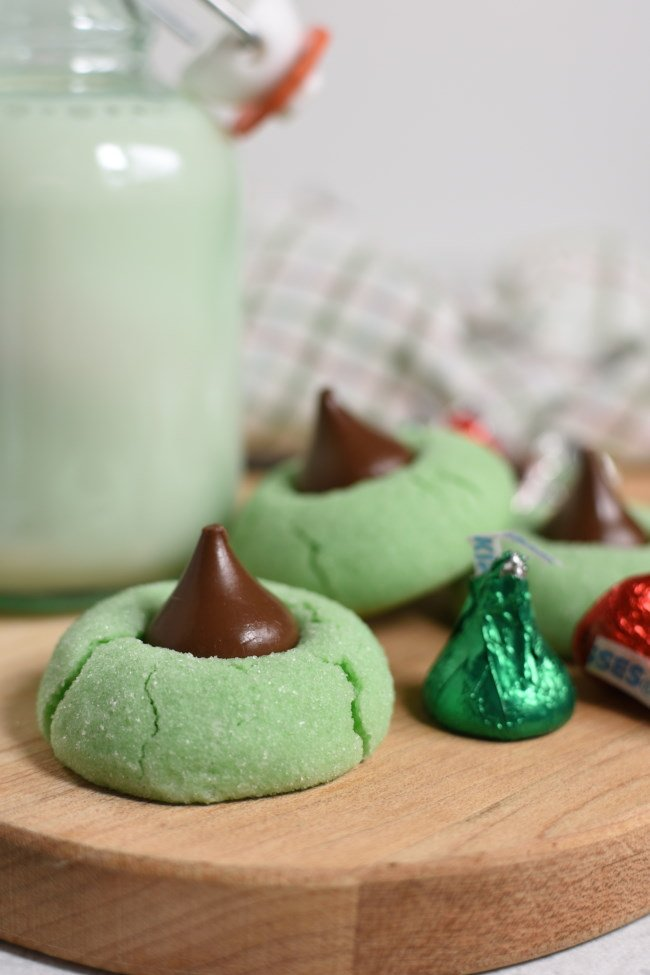 green mint cookies with a chcolate kiss on top
