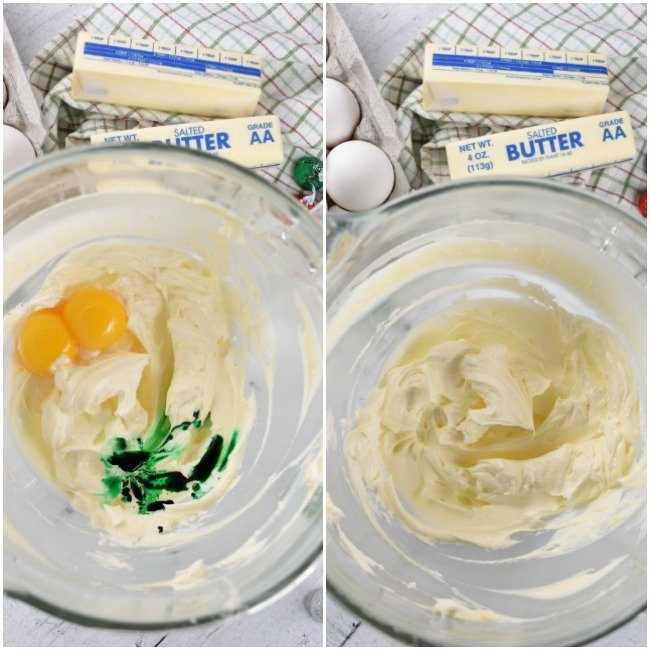 collage of creamed butter and sugar with green food coloring
