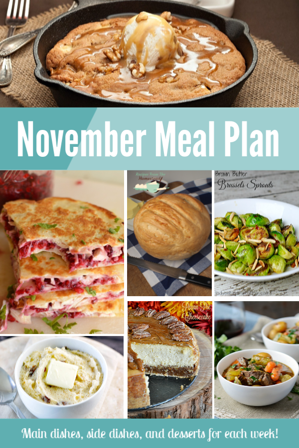 collage with food pictures for november meal plan
