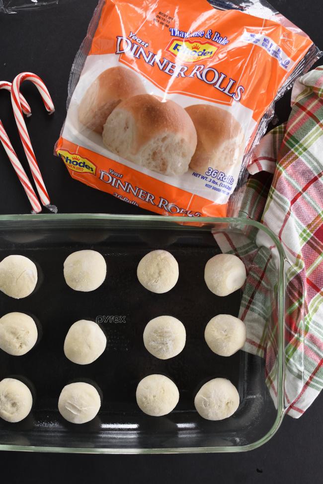 frozen Rhodes rolls in a pan
