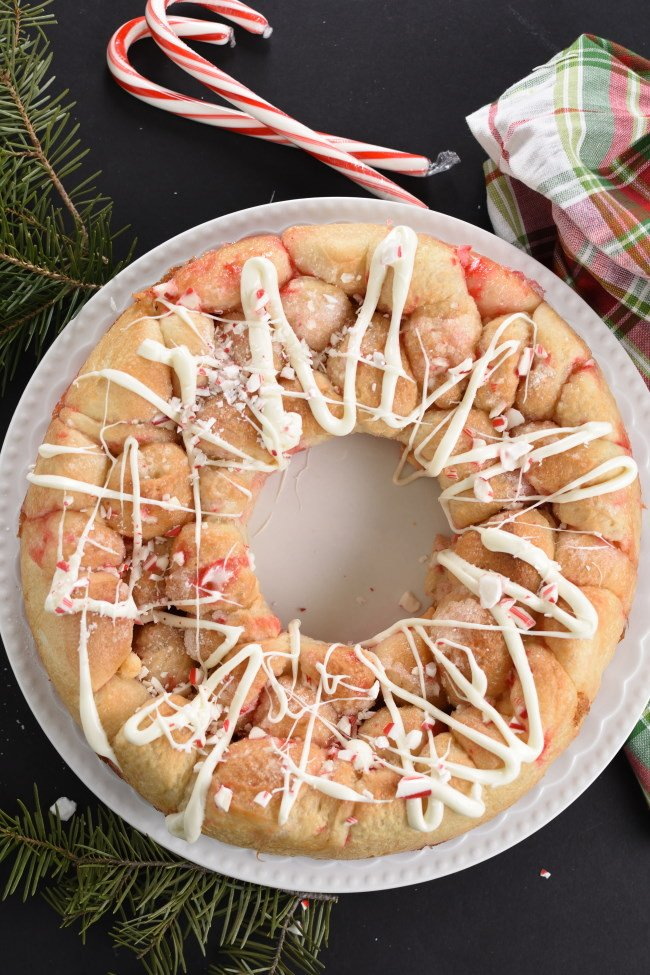 Baked monkey bread with white icing