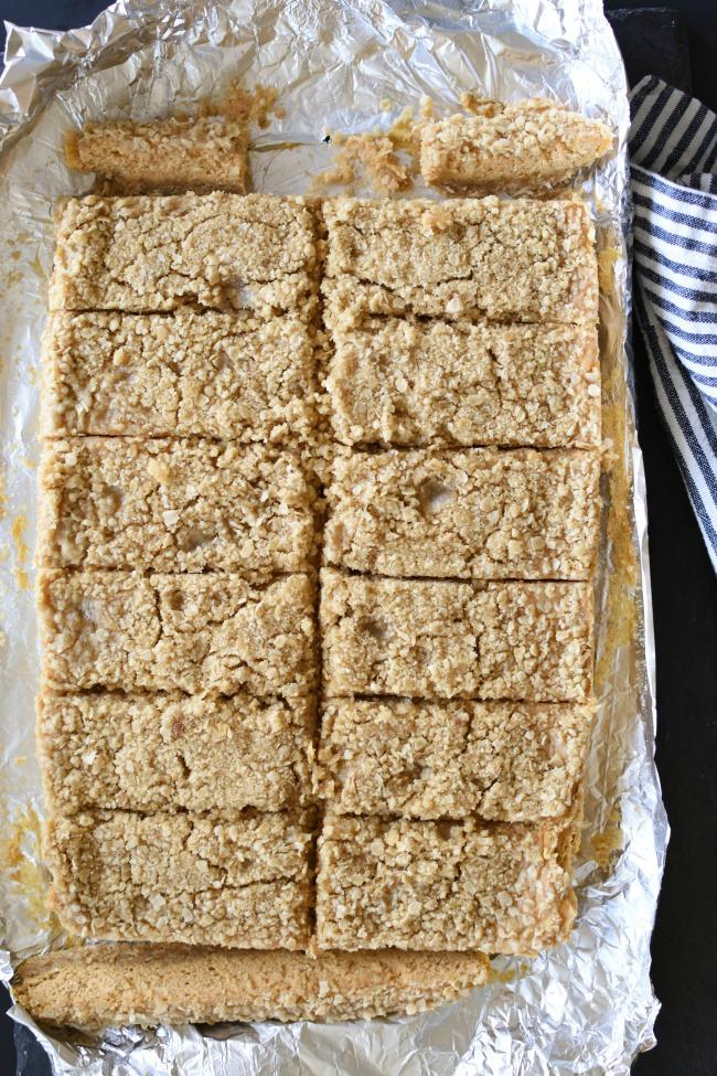 Pumpkin Cheesecake Crumb Bars cut into squares