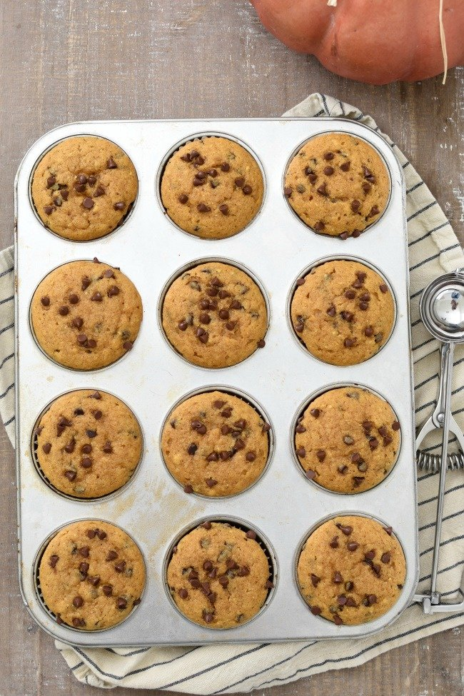 muffin pan of pumpkin zucchini muffins with chocolate chips