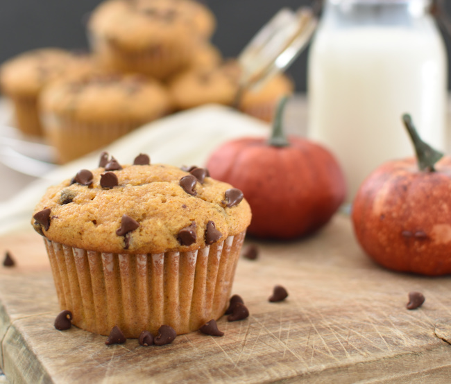 baked Chocolate Chip Pumpkin Zucchini Muffin on a board