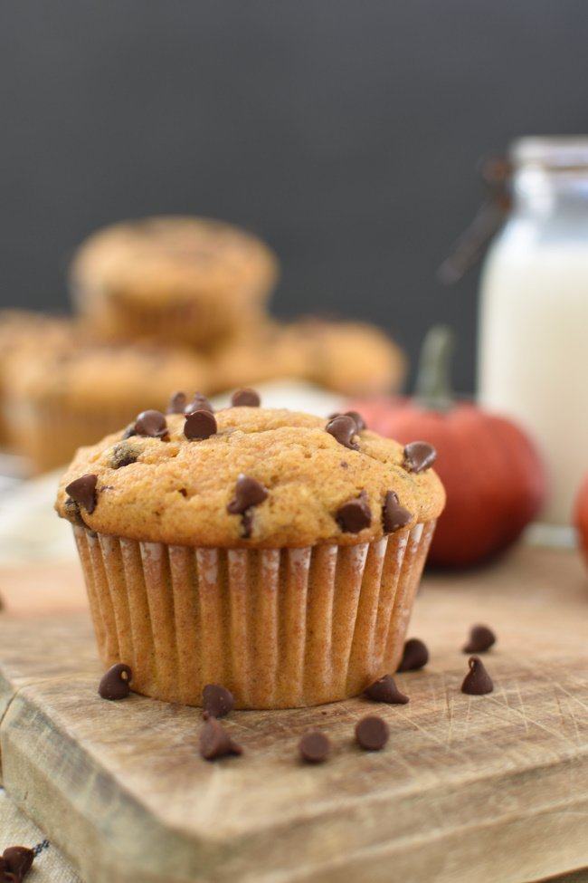 a pumpkin muffins with mini chocolate chips and a glass of milk in the back
