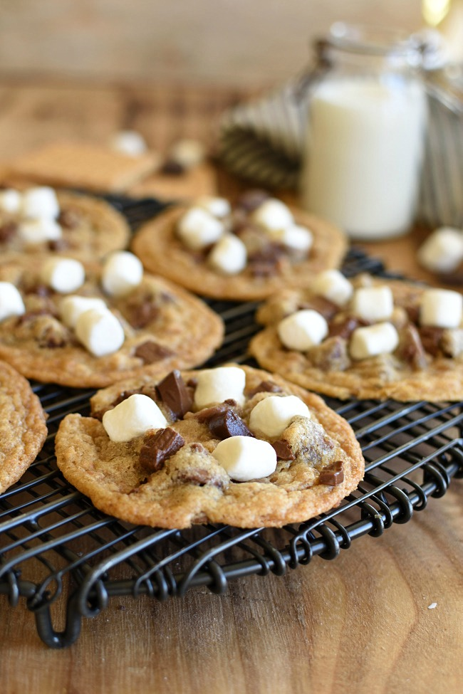 Baked S'mores Cookies on a cooling rack