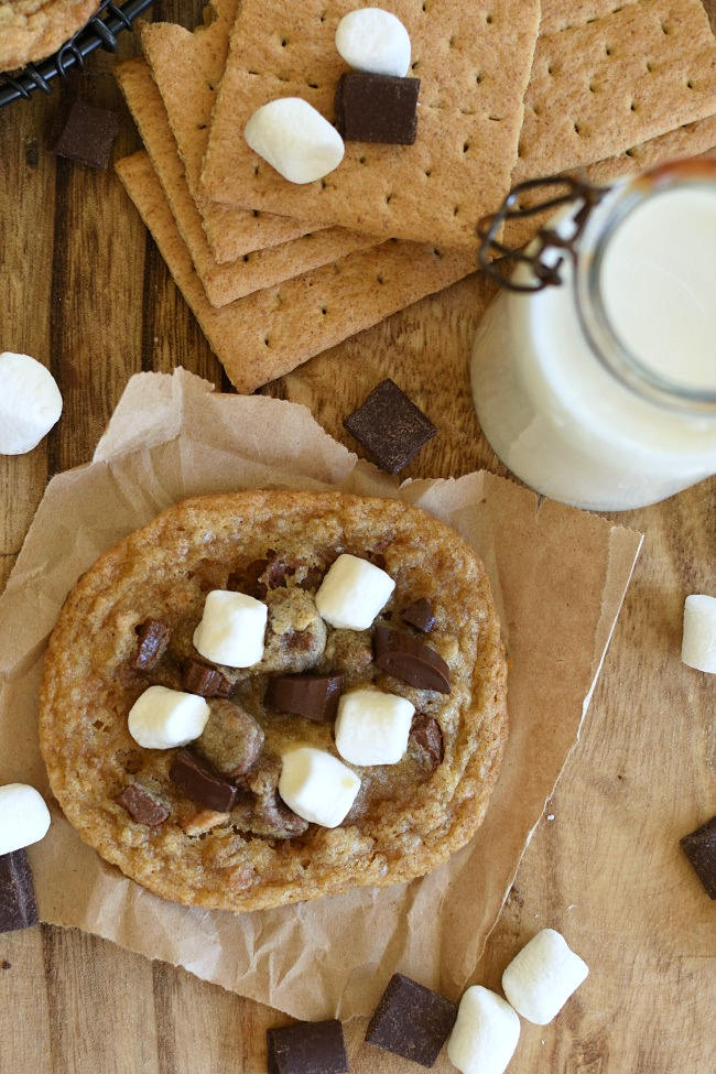 baked S'mores Cookies on a piece of paper