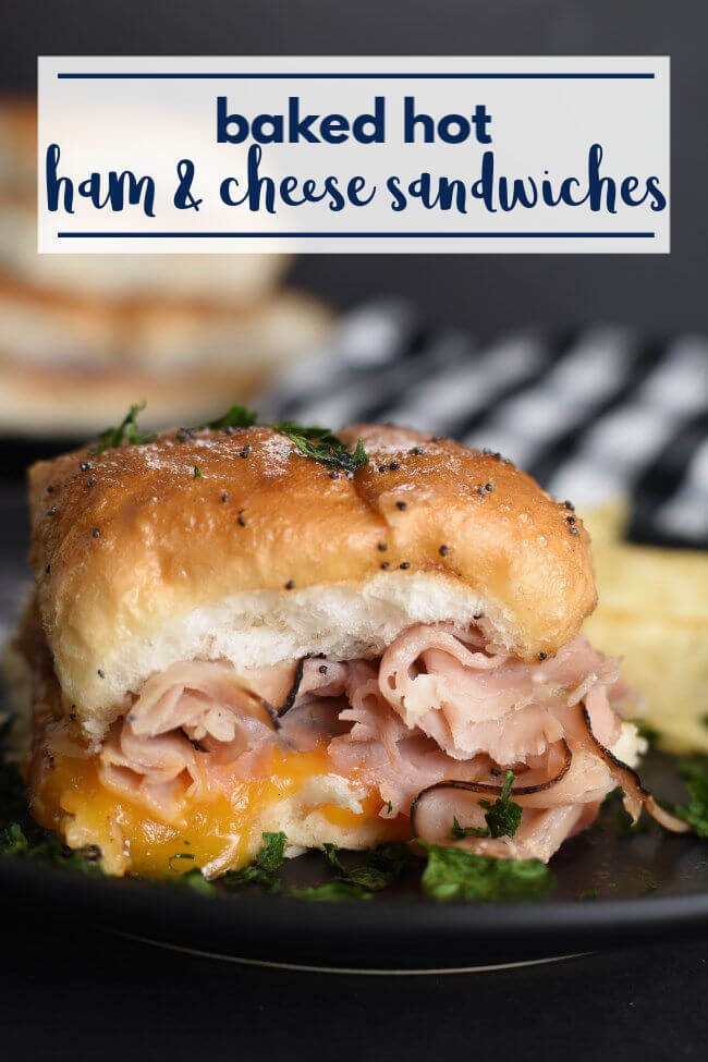 a ham and cheese sandwich on a roll with a text graphic overlay