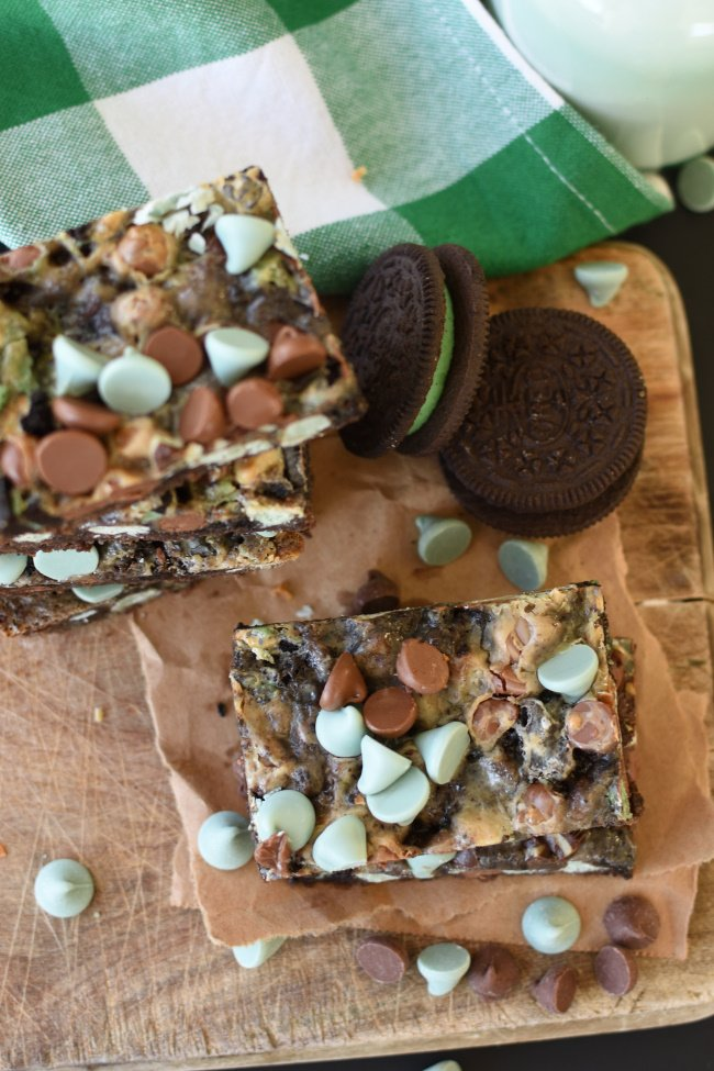 to view of mint chip chocolate magic bars