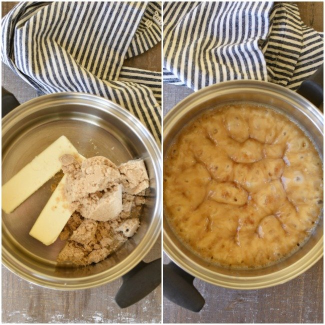 collage of a saucepan with butter and brown sugar ready to cook, and one picture of it cooked and boiling