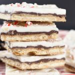 squares of peppermint bark toffee stacked up