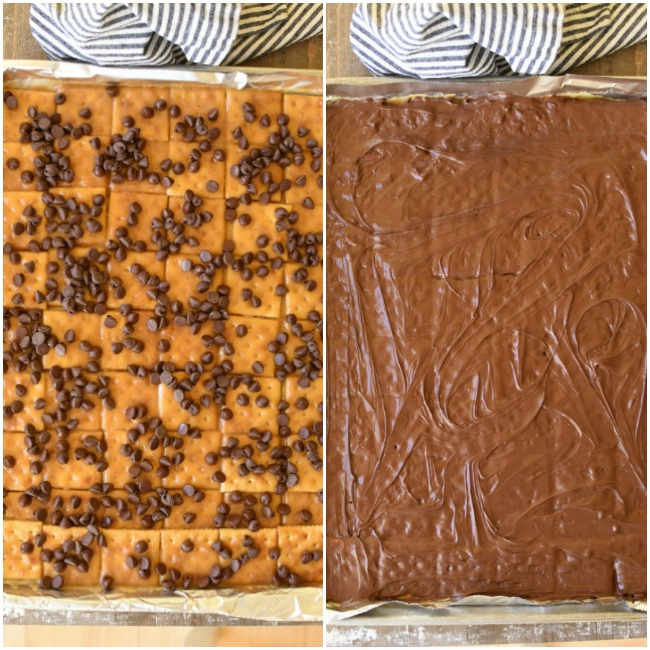 two photos- one with saltine cracker candy in a baking pan with chocolate chips on top, the other photo with chocolate chips spread over candy