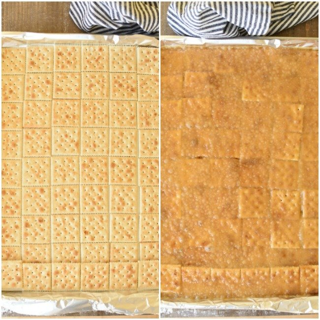 saltine crackers in a baking pan, and crackes with caramel spooned over the top