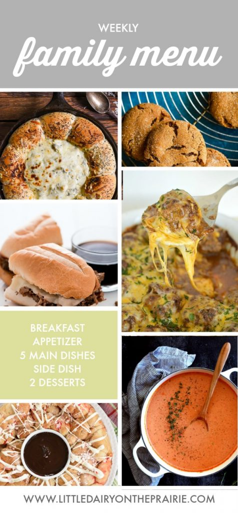 pinterest collage of weekly family menu plan